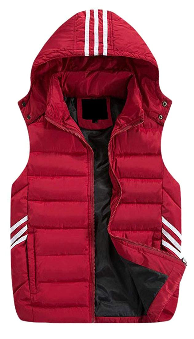Pivaconis Mens Hooded Stripe Winter Zipper Quilted Padded Puffer Down Vest