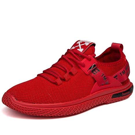 YAN Zapatos de Hombre Malla Trail Running Zapatillas de Deporte, Cordones Low-Top Sneakers