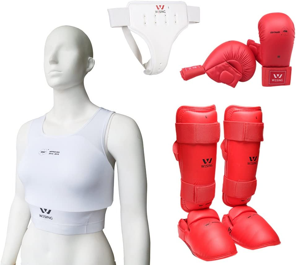 Wesing Women空手用手袋セット空手用保護装備WKF承認 (レッド, S)