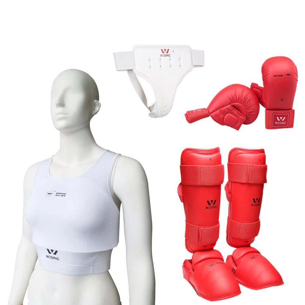 Wesing Karate Protective Gears Set for Women with Chest Protector Gloves Groin Guard Instep Shin Protection