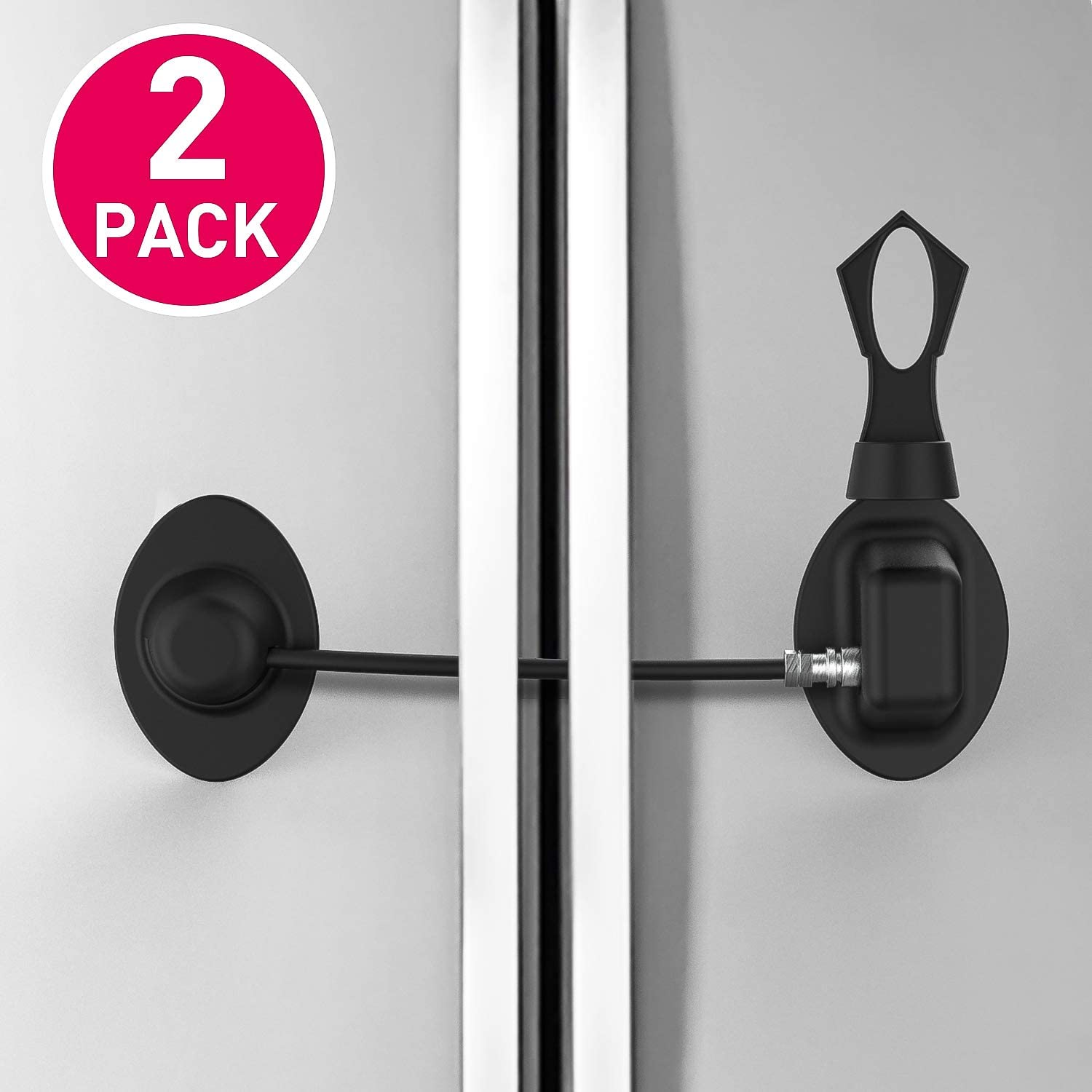 Refrigerator Lock, Childproof Fridge Lock with Magnetic- Strong 3M Adhesives and Cable, Super Convenience (Black-2PCS)