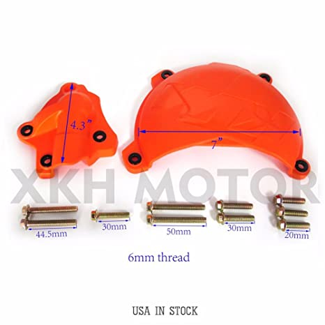 XKH GROUP Orange Clutch Cover Protection Guard W/ Water Pump Protector For KTM 250 EXC