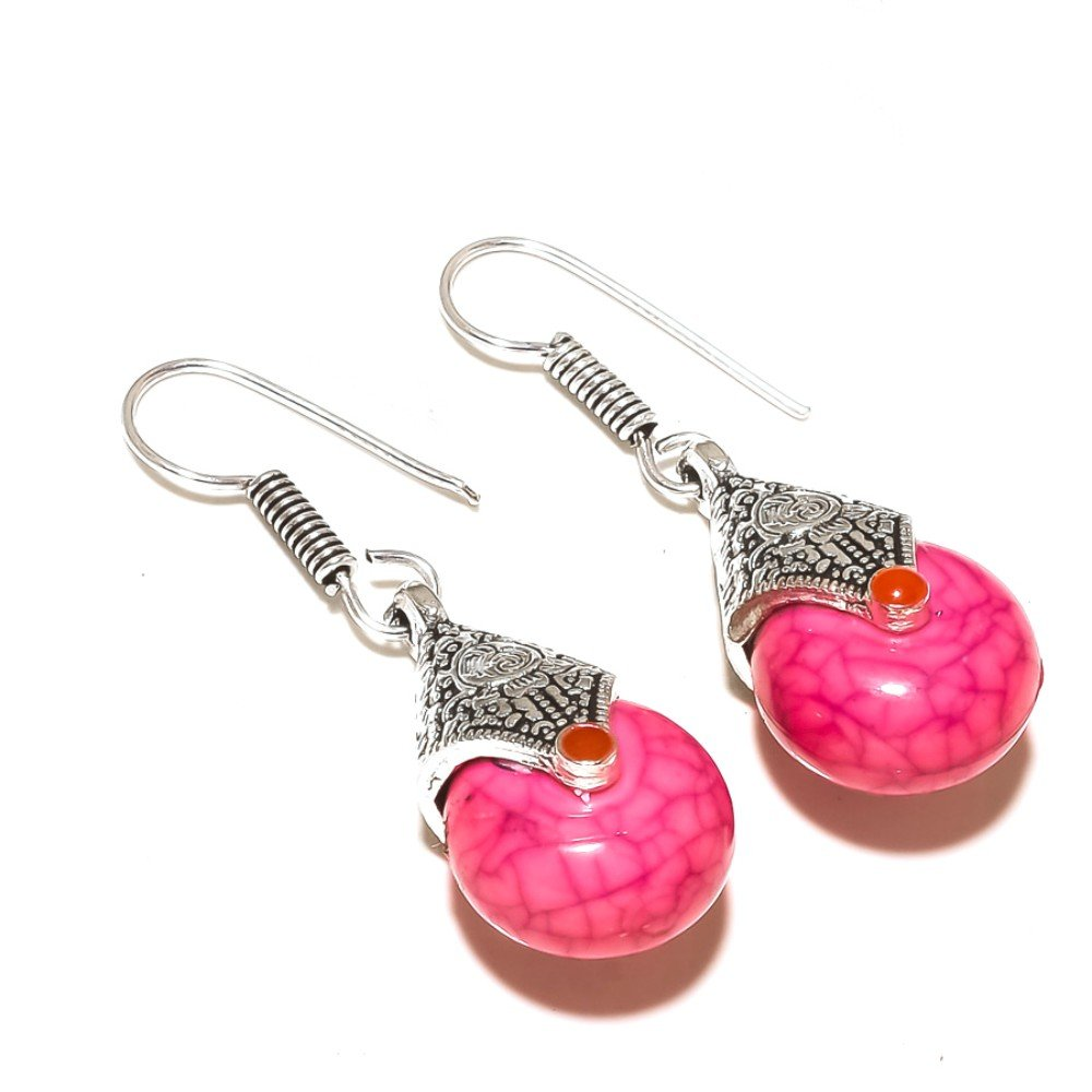 New Design Fancy Pink Turquoise Sterling Silver Overlay 10 Grams Earring 1.5 Long