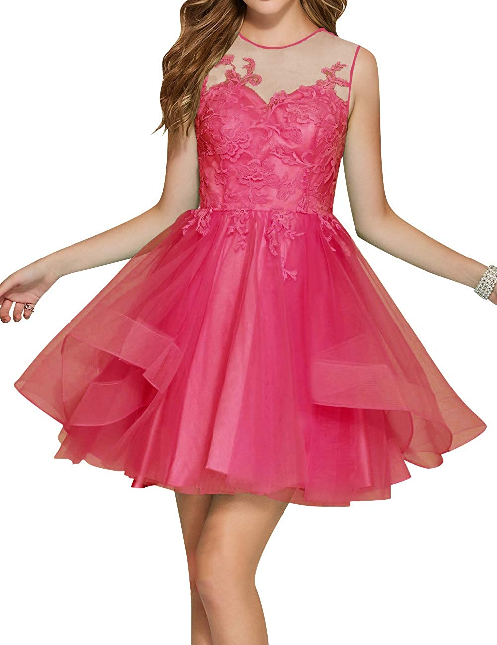 Hot Pink Uther Junior Tulle Prom Homecoming Cocktail Dresses Short Scoop Neck Bridesmaid Dress