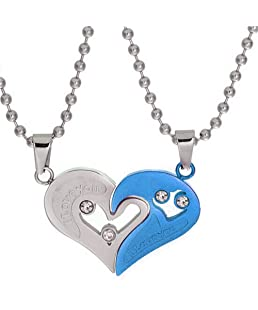 Uloveido Stainless Steel Couple Pendant Pairs Necklace Best Gifts Presents for Mens Womens (Blue) SN102