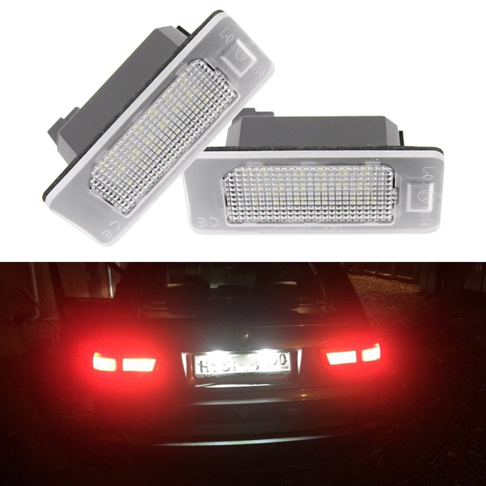 LED License Plate Lights Assembly - 24-SMD Error Free LED License Number Plate Light Bulbs for BW E39 E60 E90 1 3 5 X Series Tail Lamps Newsun