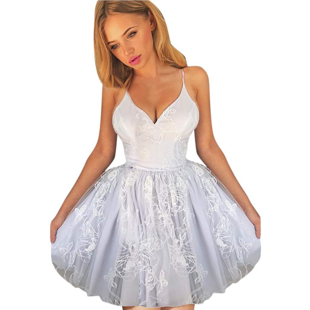 Mini Dress for Women Sexy Fashion Sexy Leisure Sleeveless V-Neck Pure Mesh Embroidery Dress Purple M by XZDCDJ