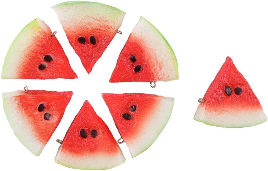 Hagao Fake Watermelon Artificial Fruits Highly Simulated Slices Lifelike Red Kids Toy Gift Home Kitchen Decoration Photography Props 7 pcs