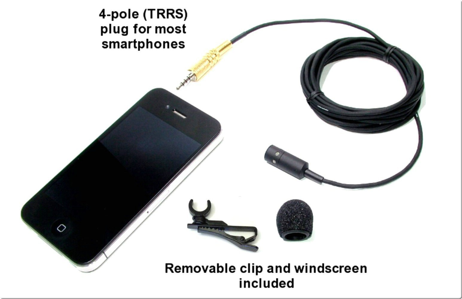 PERISCOPE-MIC-2 - Periscope Compatible Professional Uni-Directional (Cardioid) Lapel Microphone with 114'' cable, lapel clip & windscreen for iPhone/iPad/other Smartphones - Item #12502