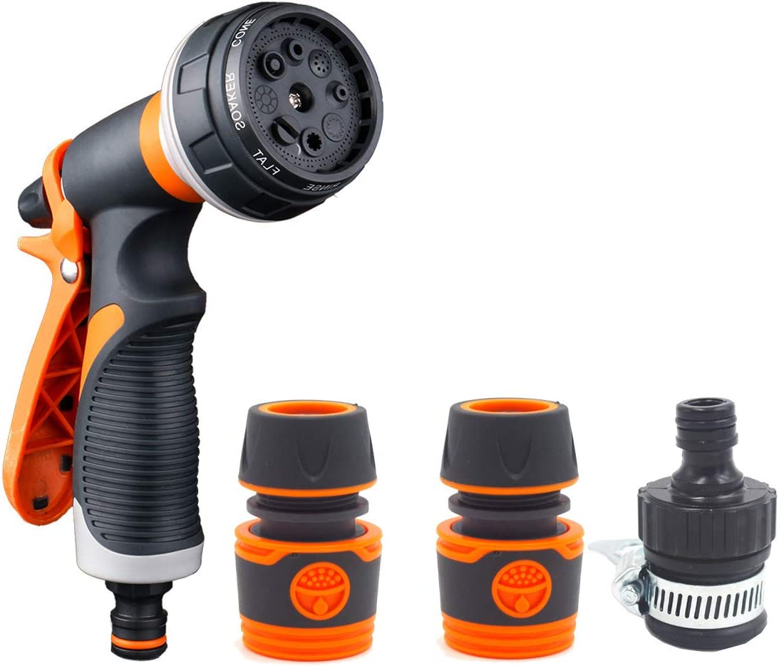 Garden Hose Nozzle Gun Sprayer, 8 Different Spray Patterns, High Pressure Slip Resistant for Plants Watering, Cleaning, Car Washing, and Pets Showering