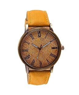 Charberry Mens Watch Retro Vogue Cowboy Leather Band Analog Quartz Watch (Orange)