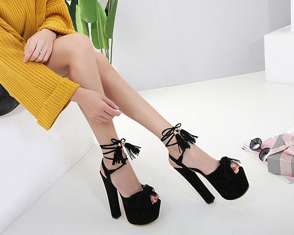 Aisun Damen Sexy Peep Toe Troddel mit Schleife Plateau Trichterabsatz Sandale mit Troddel Schnürung Schwarz 470d4c