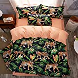 LuDan 3pcs Animal Print Bedding Sheet Set One Duvet Cover Without Comforter Two Pillowcases Beddingset Twin Full Queen King Size Tiger Design (Green, Full)