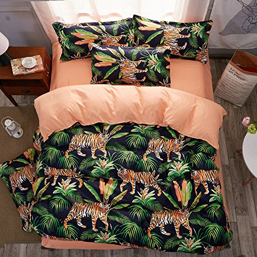 LuDan 3pcs Animal Print Bedding Sheet Set One Duvet Cover Without Comforter Two Pillowcases Beddingset Twin Full Queen King Size Tiger Design (Green, Queen)