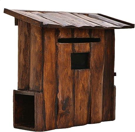 Heqianqian Buzón Villa Exterior Puerta de Madera de Pared Retro del Estilo de Letra Grande Box Caja Rural para Exterior y jardín (Color : Brown, Size : 38x35x17cm): Amazon.es: Hogar