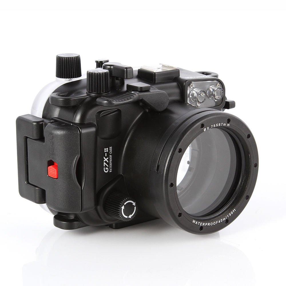 Meikon 40m Waterproof Underwater Camera Housings Case for Canon PowerShot G7X Mark II Cameras