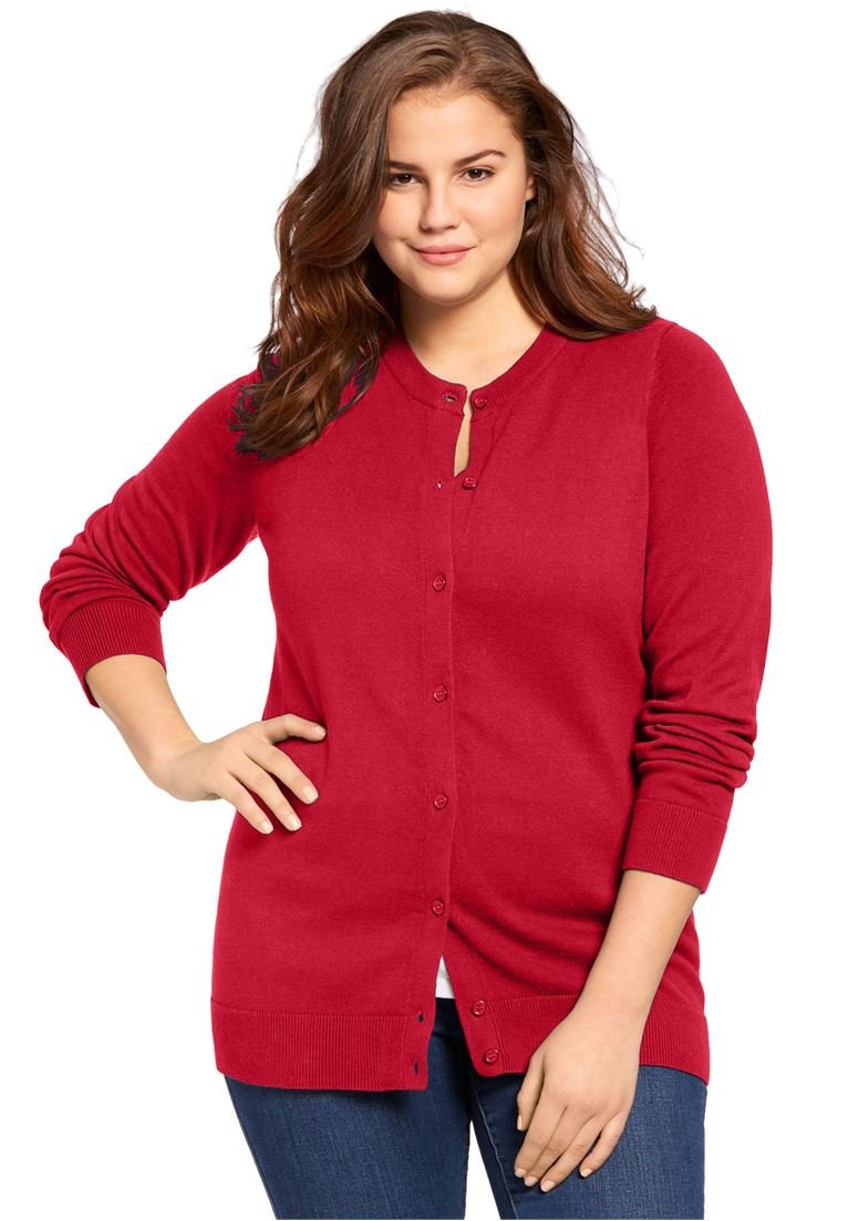 Women's Plus Size Perfect Long Sleeve Cardigan Fresh Red,3X