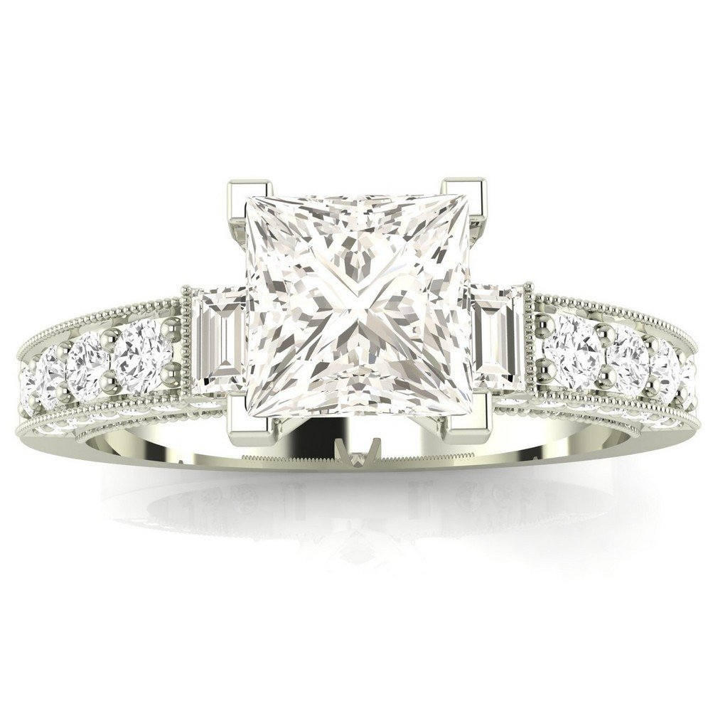 14K White Gold 1.32 CTW Princess Cut Gorgeous Prong Set Round And Half Bezel Baguette Diamond Engagement Ring, H-I Color VS1-VS2 Clarity, 0.74 Ct Center