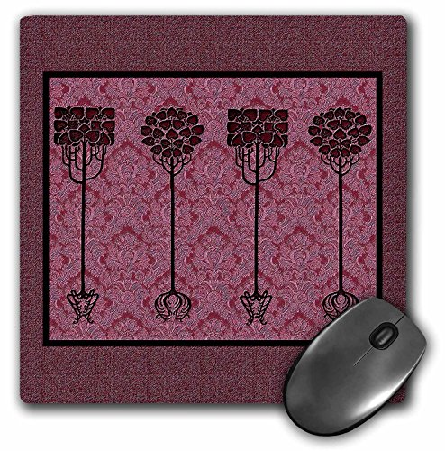 3dRose LLC 8 X 8 X 0.25 Inches Mouse Pad, Burgundy Trees on Muted Wine Damask Background (mp_31719_1)
