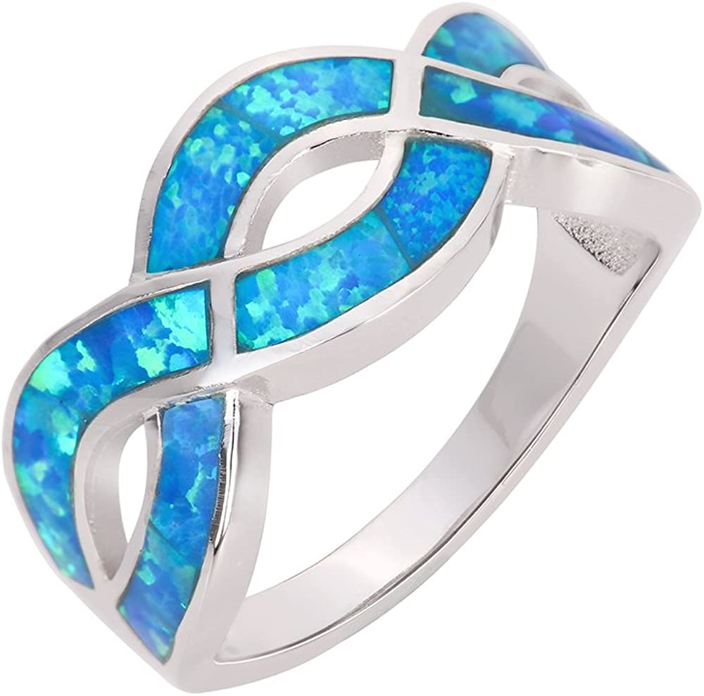 CloseoutWarehouse Blue Simulated Opal Infinity Knot Ring Sterling Silver (Sizes 4-15)