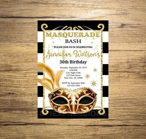Birthday Invitations Mardi Gras (Masquerade Ball Invitation, Mardi Gras Black and White Stripes, Black and Gold Masquerade Ball Birthday Invitation)
