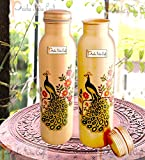 Prisha India Craft Digital Printed Pure Copper Water Bottle Kids School Water Bottles Outside Peacock Design | Capacity 1000 ML | Set of 2