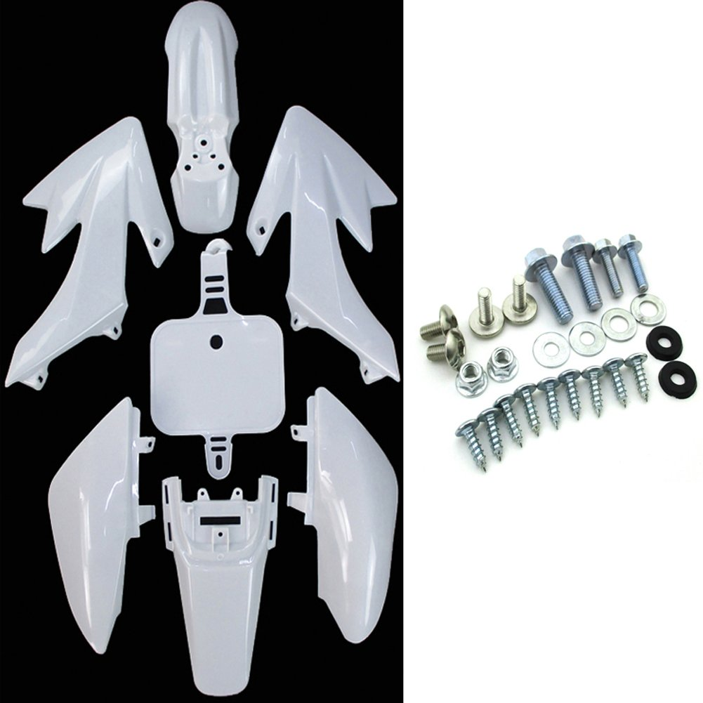 TC-Motor White Fender Body Work Plastic Fairing Kit + Complete Mounting Screws Kits For Honda XR50 CRF50 Pit Dirt Bike 50cc-160cc SSR Thumpstar Piranha Pitsterpro