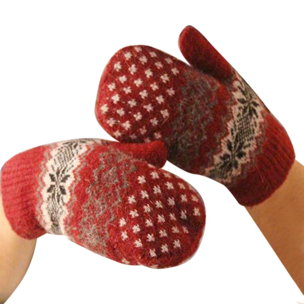 MIOIM Womens Girls Winter Warm Soft Knitted Snowflake Double Layer Mittens Gloves C25650401