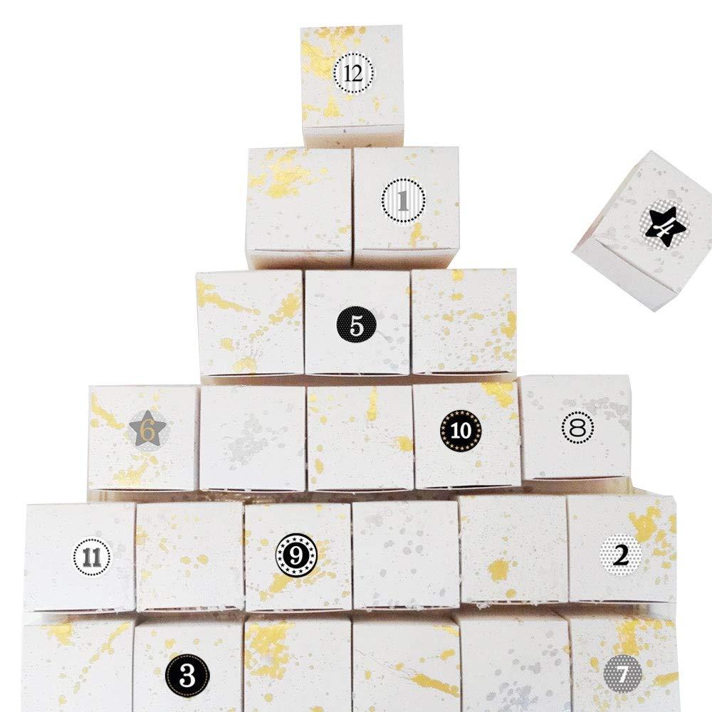 Melovely Adventskalender 2018 mit Schmuck für Frauen Damen 24-teilig komplett gefüllt Geschenke Weihnachten Xmas Überraschung Schmuckstücke Adventszeit