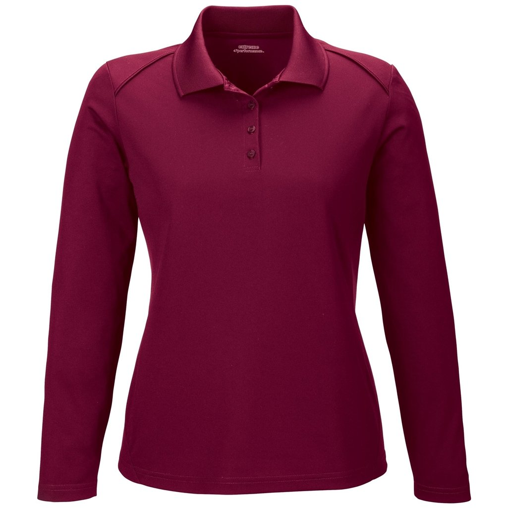 Ash City Ladies Armour Long Sleeve Polo (Small, Burgundy) by Ash City Apparel