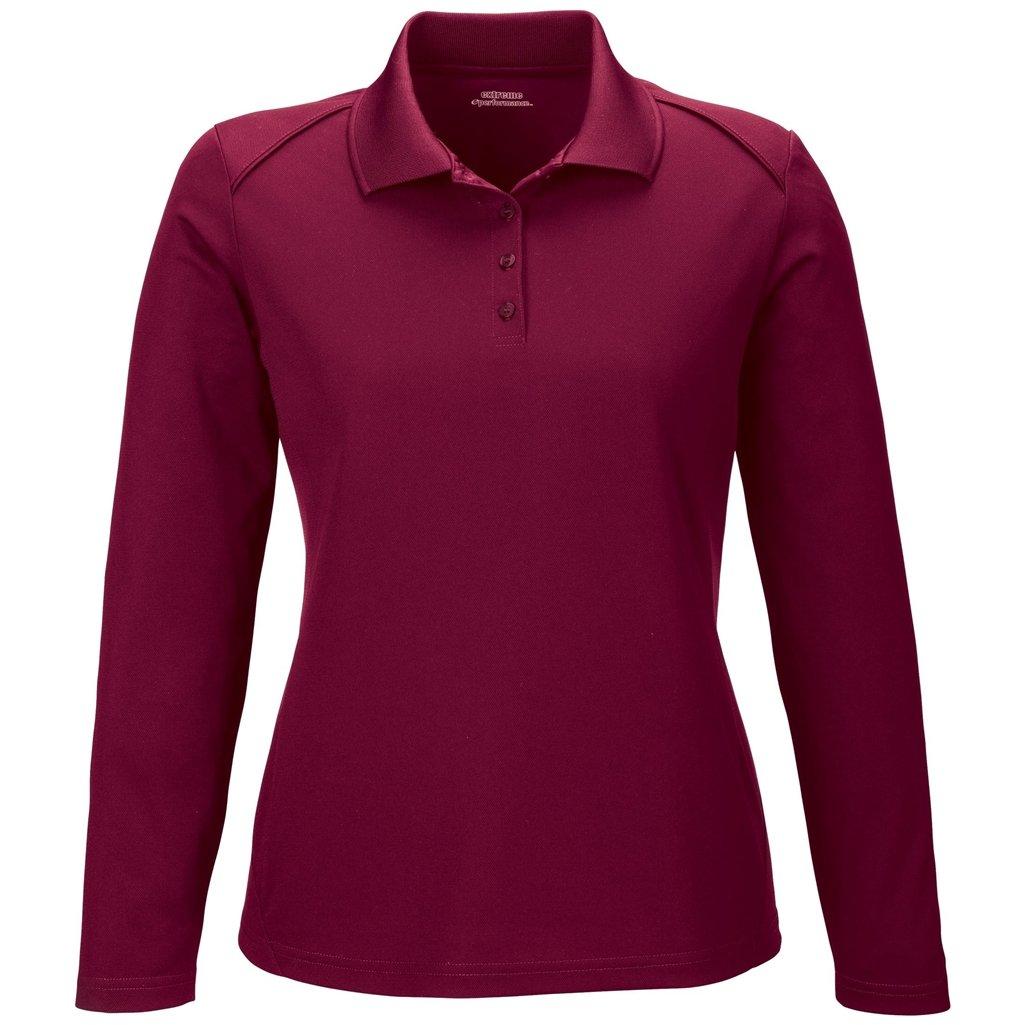 Ash City Ladies Armour Long Sleeve Polo (Small, Burgundy)