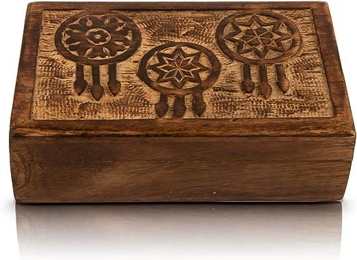 Joyero de madera para regalo de cumpleaños, hecho a mano, con atrapasueños tallados, organizador de joyas, caja de recuerdos, caja de almacenamiento, caja de almacenamiento de 20,32 x 12,7 cm: Amazon.es: Hogar