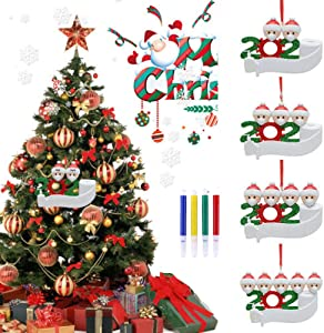 Rand 2020 Ornament Christmas Tree Hanging Pendant DIY Name Blessings with Pen Decor (White People 2)