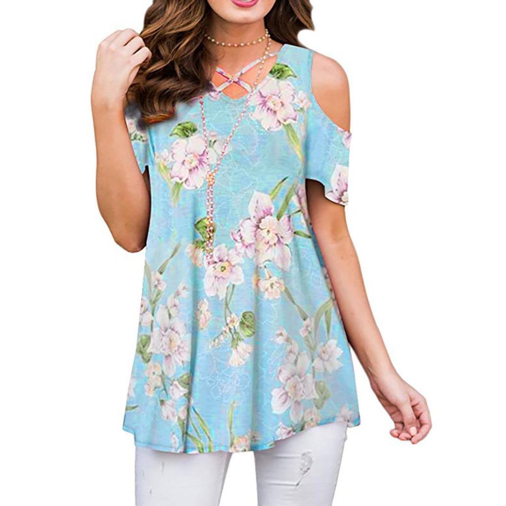 Longra ✓2018 Summer Women Ladies T-Shirt Ruffle Media manga cuello redondo Casual Tops blusa Tee blusas de mujer elegantes: Amazon.es: Alimentación y ...