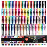 CREATE ART 120 Pack Gel Pens Set, 50% MORE INK Premium MultiColor Pens Ideal For Children and Adult Coloring Book, Scrapbooking, Arts & Crafts