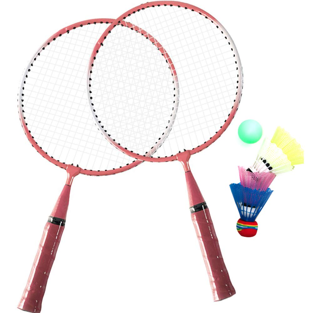 SuperbUla Portable Badminton Set for Kids with 2 Rackets, Includes 1 Ball & 4 Birdies & 1 Carry Bag (Pink) by SuperbUla (Image #1)