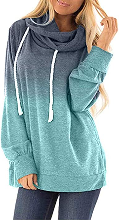 Padaleks Womens Hoodie Pullover Sweatshirt Plus Size Long Sleeve Round Neck Hooded Shirts Tunics Tops Blouses