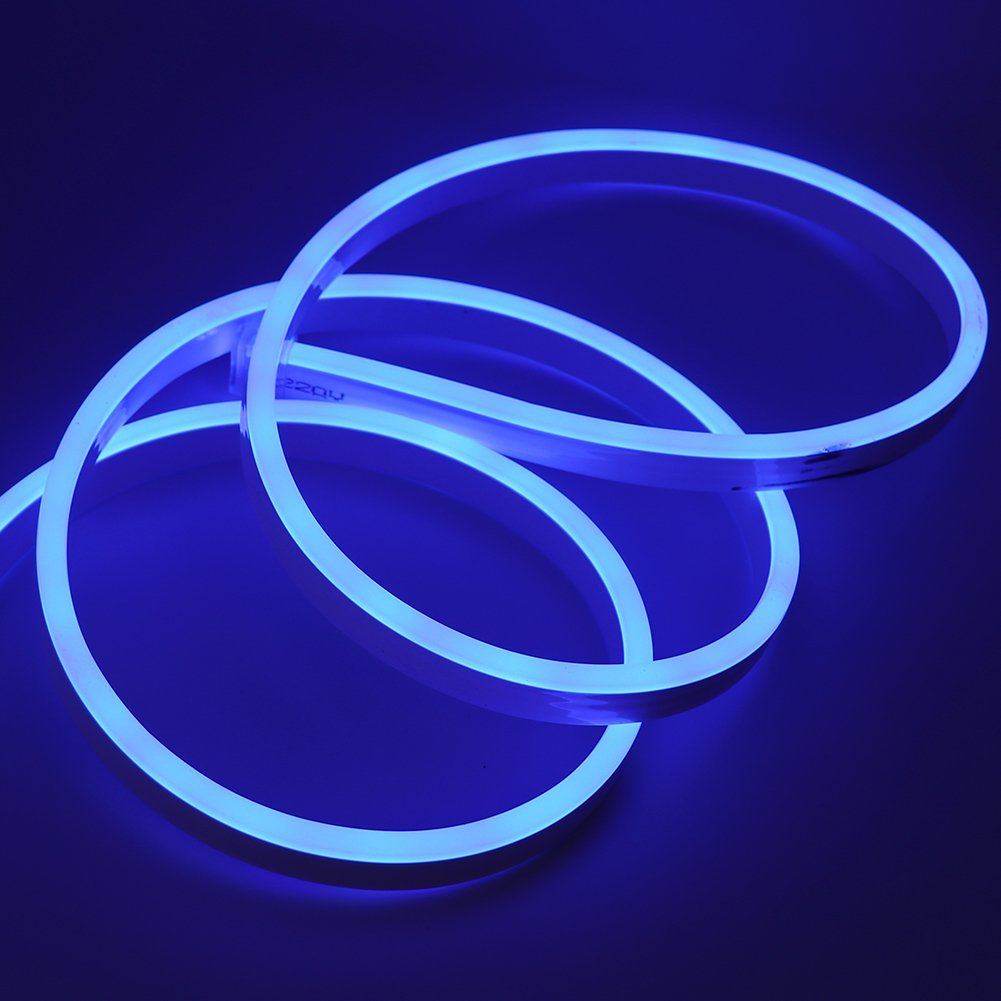 XUNATA 49.2ft LED Rope Neon Light, 110V Waterproof Flexible US Plug 1800 Units SMD 2835 LED Strip Lights for Home Indoor Outdoor Decoration (Blue) by XUNATA (Image #4)