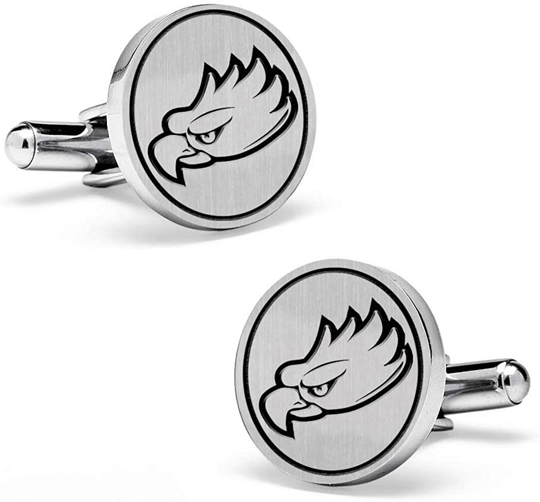 Sterling Silver Medium Size Round Top Florida Gulf Coast Eagles Cufflinks