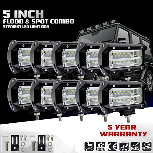 KaTur 5Inch 72W LED Light Bar Spot Beam10800LLM Offroad Fog