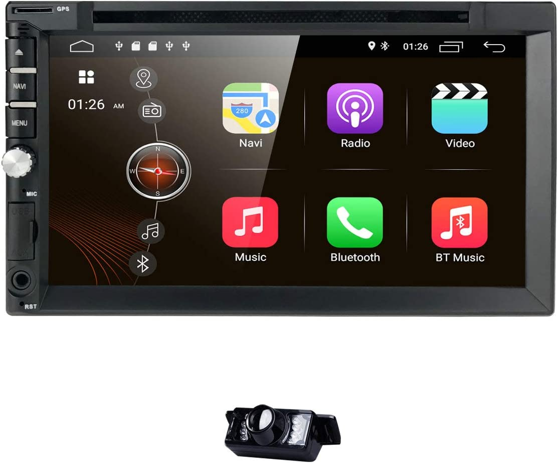 hizpo Android 9.0 Universal Car Radio 7 Inch Multimedia Player 2 GB RAM 16 GB ROM Double Din Car GPS Navigation Bluetooth WiFi Hotspot SWC Subwoofer USB SD Mirrolink