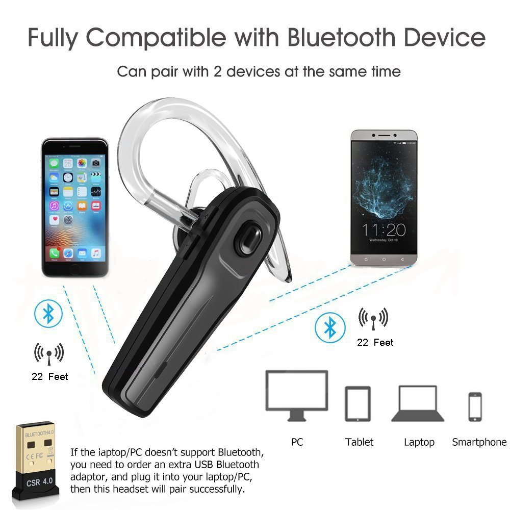 Bluetooth Headset, Handsfree Wireless Bluetooth Earpieces - Cellphone Mic Noise Cancelling Earphones for Business / Sport / Driving Earbuds Bluetooth V4.1 Headphone for iPhone Android Laptop