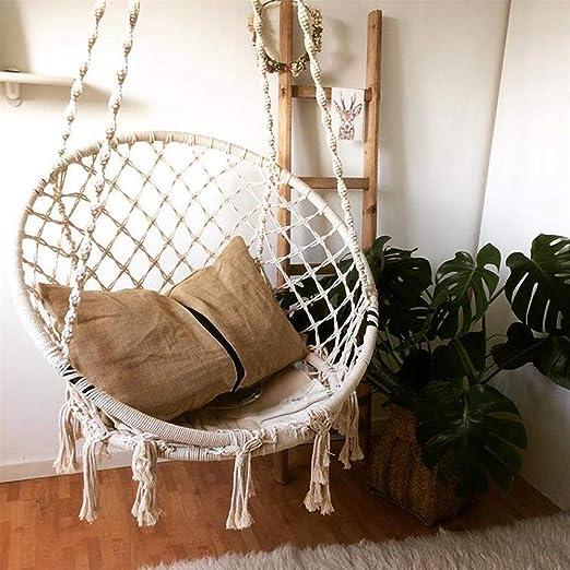 S SMAUTOP Silla Colgante Silla giratoria Tejido de Cuerda de algodón Silla de Hamaca Adecuado para Sala de Estar Lectura Balcón Jardín: Amazon.es: Jardín