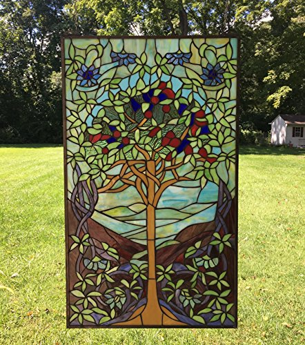 """20"""" x 34"""" Tiffany Style Stained Glass Window Panel Tree o..."""