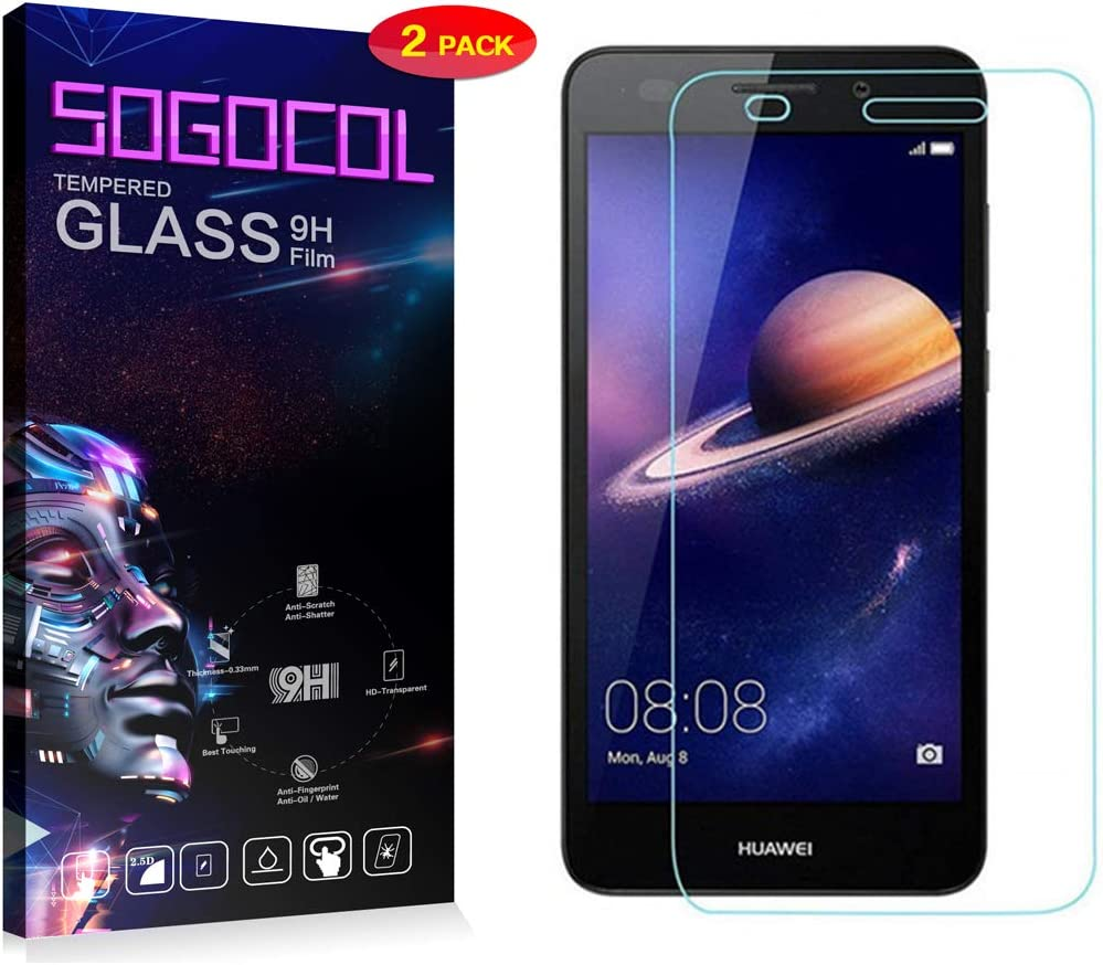 3-P SOGOCOOL Huawei Y6 2017 9H Hardness 2.5D Round Edge Screen Protector for Huawei Y6 2017