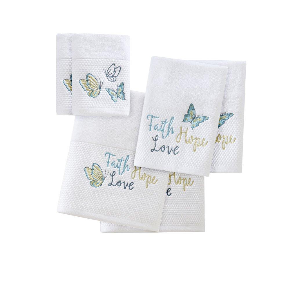Madison Park Faith Hope Love Cotton Bathroom Towels, Washable Highly Absorbent Bath Towel Set, 6-Piece Include 2 Bath Towels, 2 Hand Towels & 2 Wash Towels, Blue White