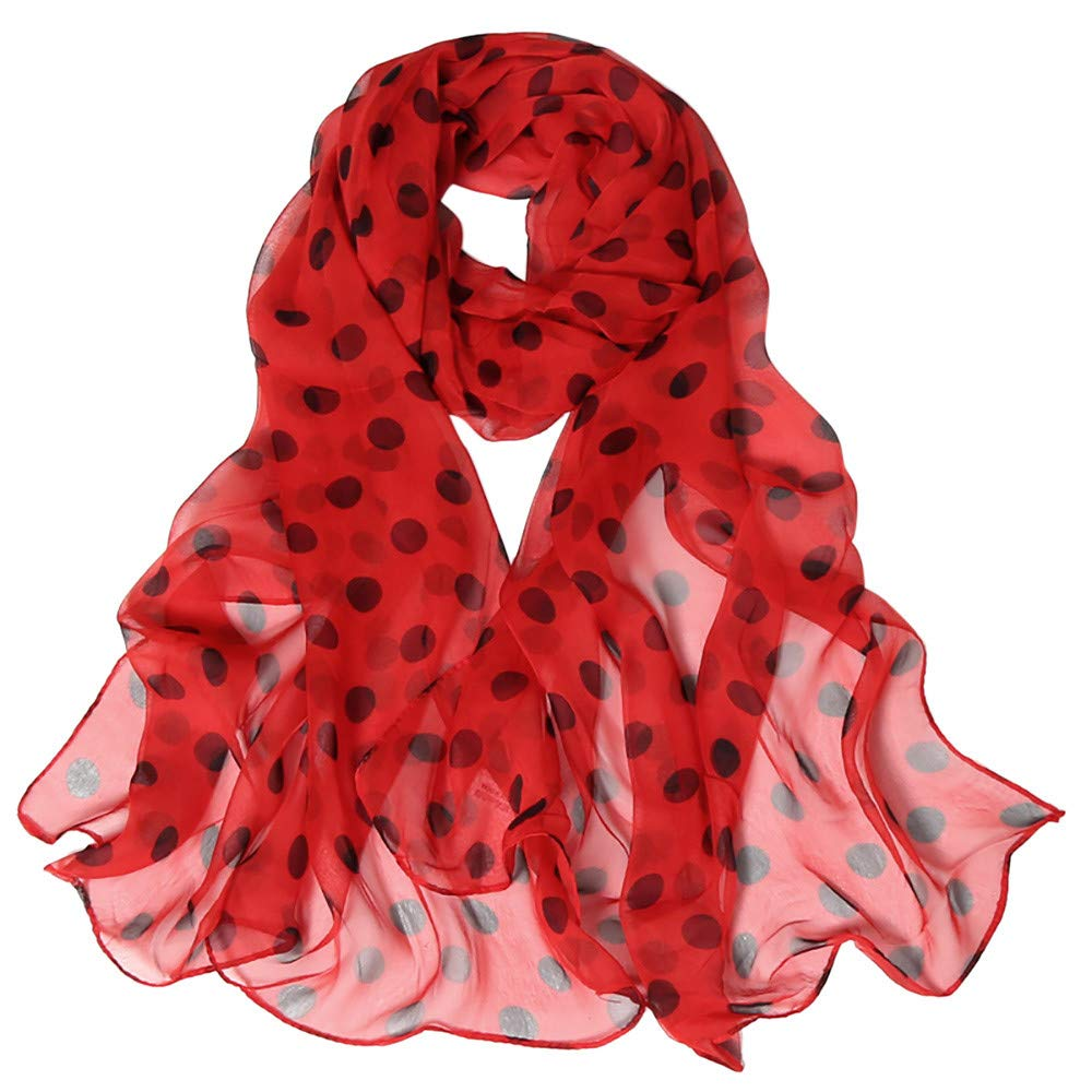 Wociaosmd Womens Dot Printing Soft Long Simulation Silk Scarves Shawl Wraps Fall Winter Scarf