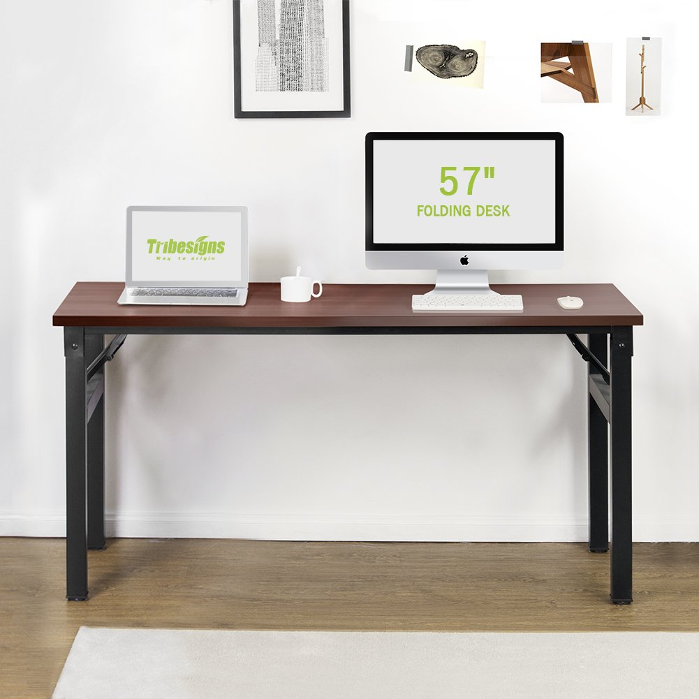 folding office desk. amazon.com : computer desk, tribesigns 57 inch folding office desk workstation no assembly required, for home use (teak) products l