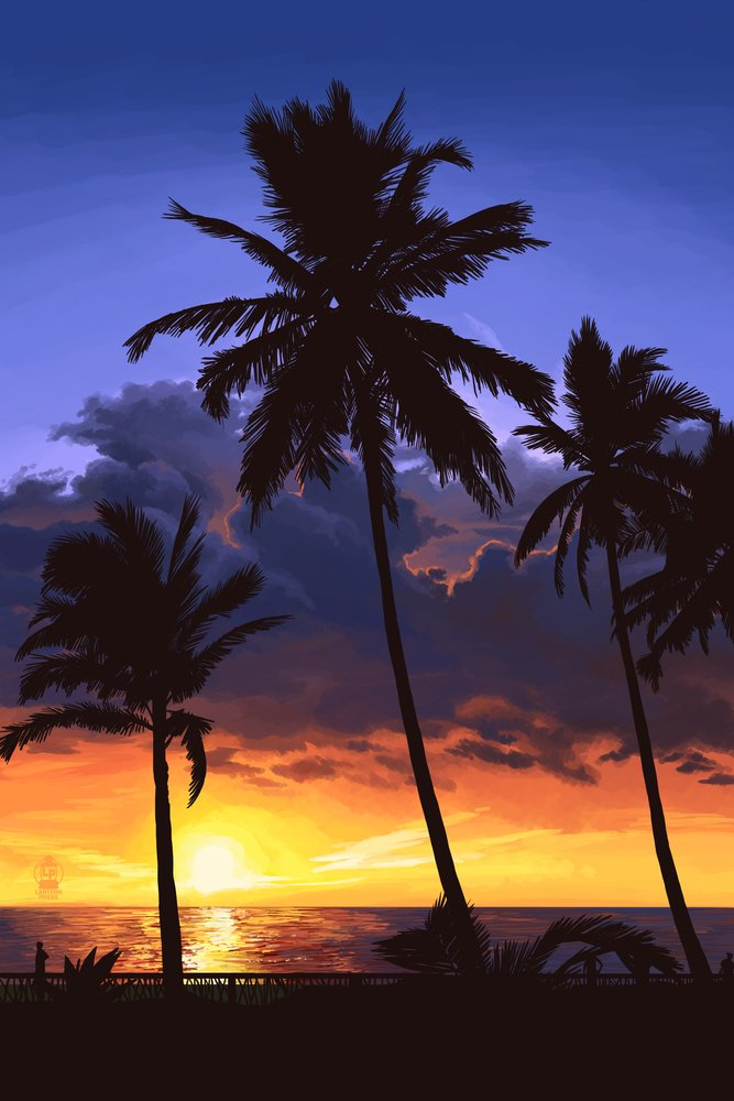 Palms and sunset 36 x 54 Giclee Print LANT-50047-36x54 36 x 54 Giclee Print  B017EA0DS2