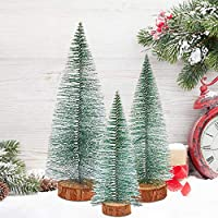 handrong 3Pcs Tabletop Model Trees Xmas Pine Tree Tabletop Christmas Tree Desktop Pine Tree Mini Christmas Tree Mini Snow Frost Trees DIY Room Decor Home Table Top Decoration Diorama Models